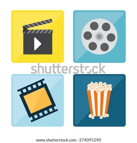 Video design over white background, vector illustration. - stock vector