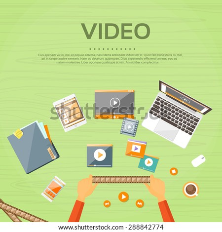 Video Editor Workplace Hands Laptop Player Flat Vector Illustration - stock vector