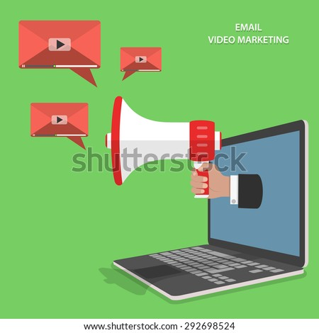 Video email marketing flat isometric vector concept. Mans hand with megaphone appeared from laptop and sends video emails. - stock vector