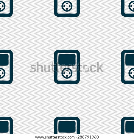 video game console icon sign. Seamless pattern with geometric texture. Vector illustration - stock vector