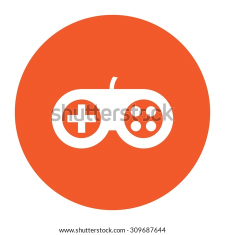 Video game controller. Flat white symbol in the orange circle. Vector illustration icon - stock vector