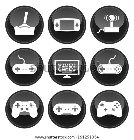 Video Game Icons Glossy Button Icon Set - stock vector