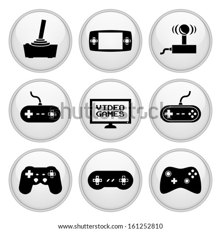 Video Game Icons Glossy White Button Icon Set - stock vector