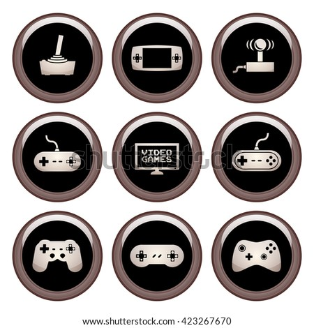 Video Game Icons Metal Icon Set - stock vector