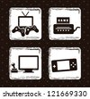 video game icons over black background. vector illustration - stock vector