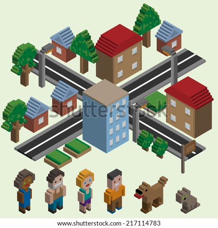 Video game isometric city with cartoon pixel characters icons set isolated vector illustration