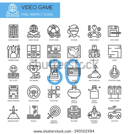 Video Game , thin line icons set ,pixel perfect icons - stock vector