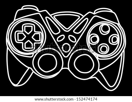 video game vector controller isolated on black background. - stock vector