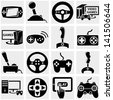 Video game vector icon set on gray - stock photo