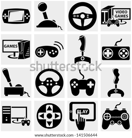 Video game vector icon set on gray - stock vector