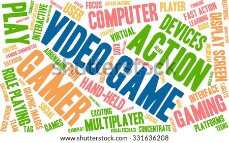 Video Game word cloud on a white background.