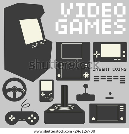 Video Games Icon Set - stock vector