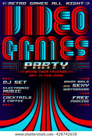 Video Games party - poster event template, eighties games style - stock vector