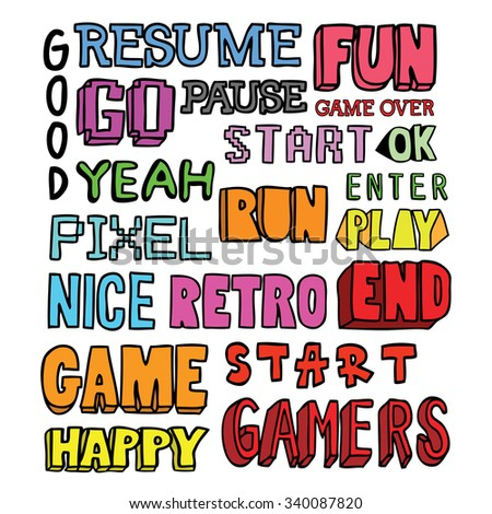 video games related words doodle - stock vector