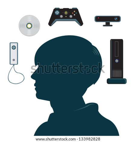 Video Games Vector Clip art. Colors and Sizes can be changed. Isolated on White. - stock vector