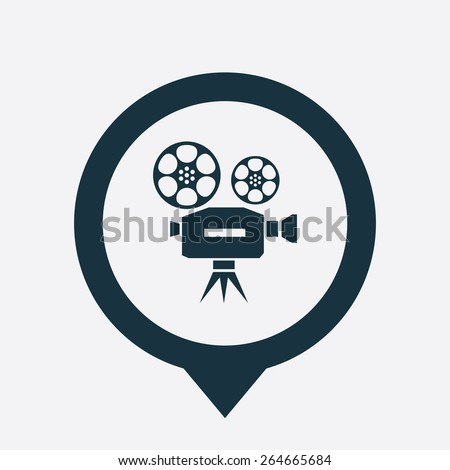 video icon map pin on white background  - stock vector