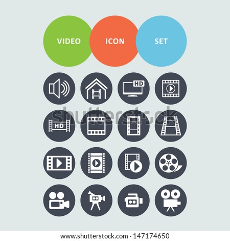 Video icon set - stock vector