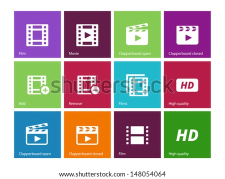 Video icons on color background. Vector illustration. - stock vector