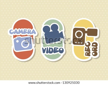video icons over beige background. vector illustration - stock vector