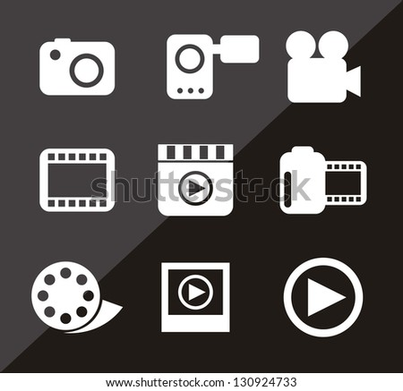 video icons over black background. vector illustration