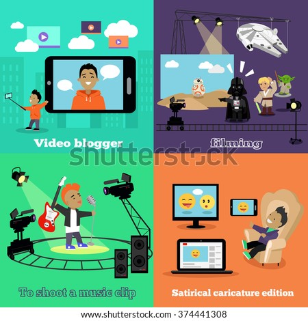 Video industry blogger filming design flat. Video blogger, caricature edition, clip music, filming and blog, social media, fashion blogger, movie cinema filming, video camera, movie film illustration - stock vector