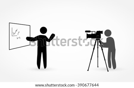 Video lecture shooting - stock vector