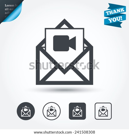 Video mail icon. Video camera symbol. Message sign. Circle and square buttons. Flat design set. Thank you ribbon. Vector - stock vector