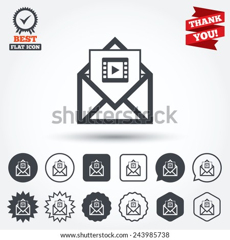 Video mail icon. Video frame symbol. Message sign. Circle, star, speech bubble and square buttons. Award medal with check mark. Thank you. Vector - stock vector