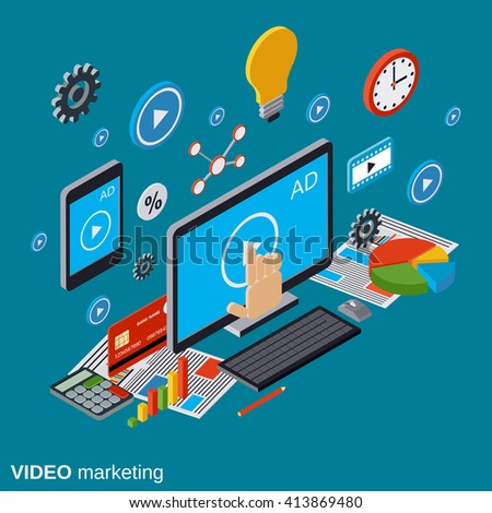 Video marketing, advertising, promotion flat isometric vector concept illustration