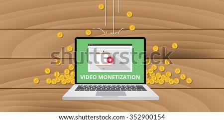 video marketing, gold money coin concept - stock vector