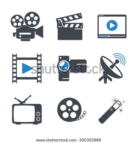 Video media icons set - stock vector