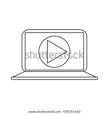 Video movie media player on the laptop icon - stock vector