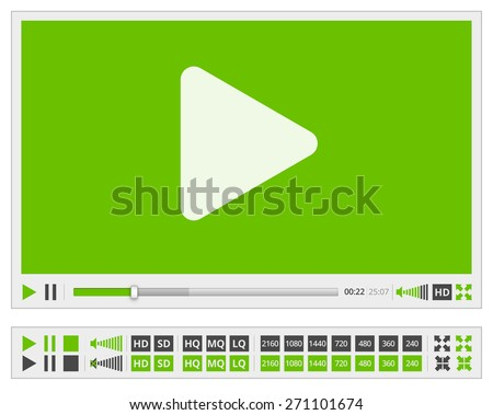 Video multimedia player flat design for web browser, vector green colored template - stock vector