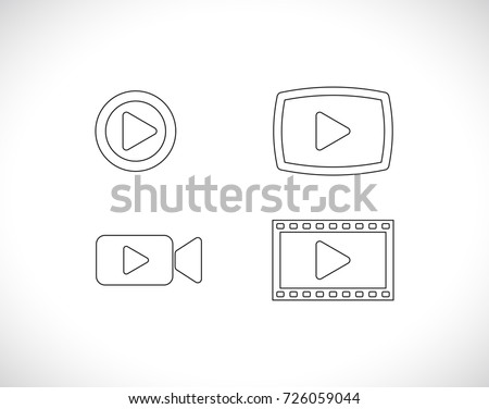 video outline icon set