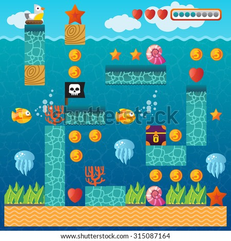 Video platform game interface design elements. Vector background and different blocks to construct your own game level. Vintage style game design. Underwater level. Mobile game. - stock vector