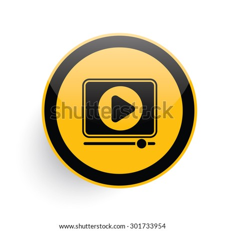 Video play icon design on yellow button background,clean vector - stock vector