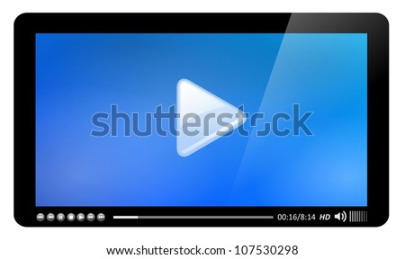 Video player, easy editable - stock vector