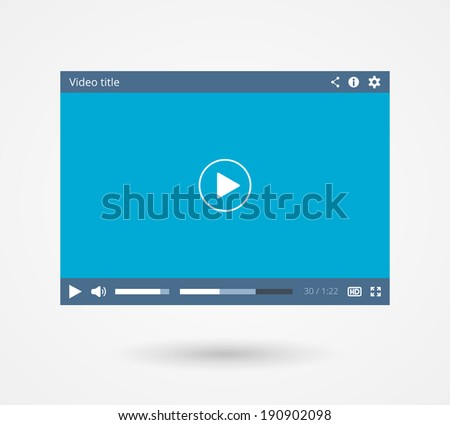 Video player for web and mobile apps in flat style, vector eps10 illustration - stock vector