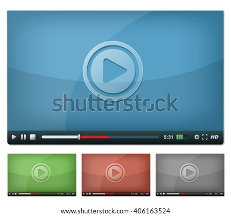 Video Player For Web And Tablet PC/ Illustration of a set of web video player, with play, pause and stop buttons, volume, settings and high resolution icons, for browser and tablet pc - stock vector