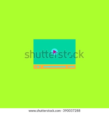 Video player for web. Flat simple modern illustration pictogram. Collection concept icon for infographic project and logo - stock vector