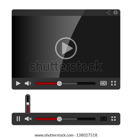 Video Player for Web isolated on white background - stock vector