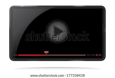 Video player for web with buttons and reflection. Black 16:9 aspect ratio video player. - stock vector