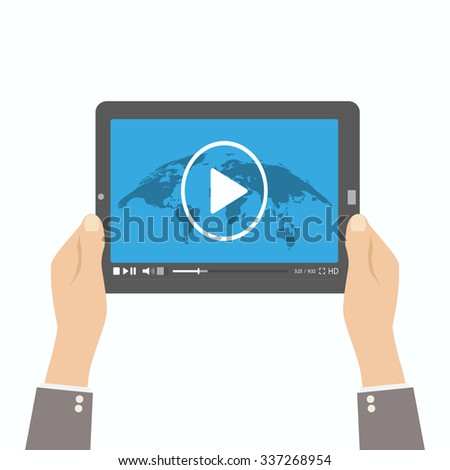 video player in the hands of a man - stock vector