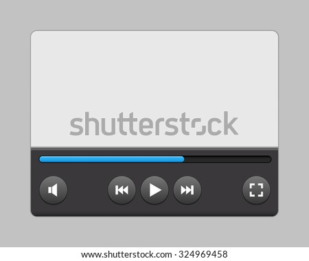 Video player interface for your site, apps. Vector illustration. - stock vector