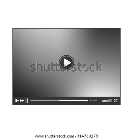 Video Player interface. Online Player template. Player isolated on white background. Vector illustration - stock vector