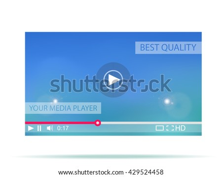 Video player. Media interface for web. Vector illustration. - stock vector