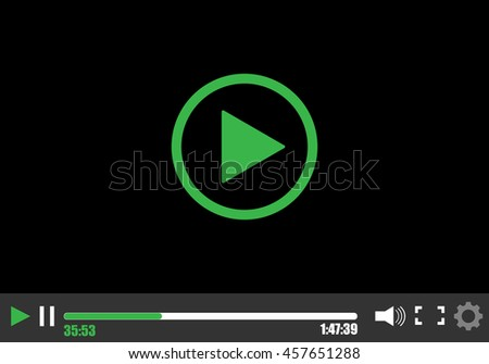 Video player template for web - stock vector