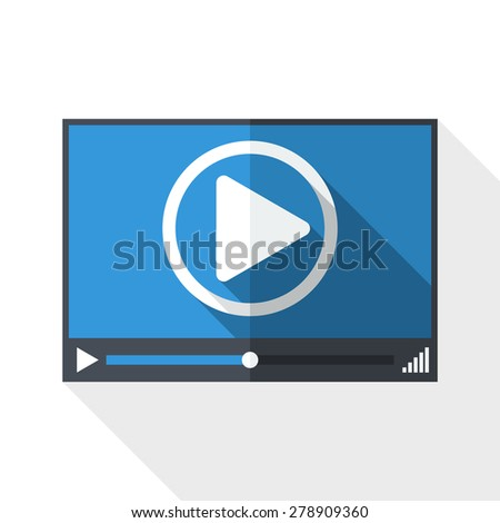 Video player window with long shadow on white background - stock vector