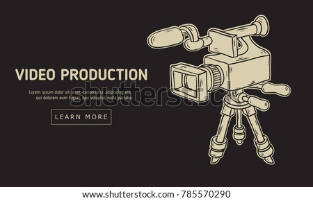 Line Drawing Vector Graphics : Video production design isolated camera stock vector 785570290