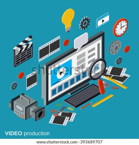Video production flat 3d isometric vector concept illustration